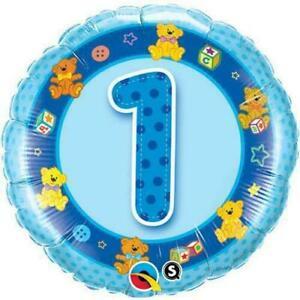 Age 1/1st Birthday Blue Teddies Qualatex 18 Inch Foil Helium Balloon