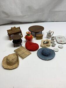 LOT OF UNIQUE DOLLHOUSE ITEMS 24 PIECES miniatures Wooden Table Tea Set LG