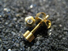 3mm FLOWER Shape CRYSTAL Gold PIERCING Studs Earrings - STERILIZED - Made in USA