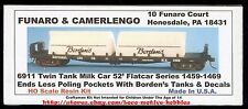 LMH Funaro F&C 6911  BORDEN'S Milk  TWIN TANK Tanks 52'  NATIONAL CAR CO Flatcar