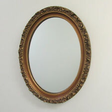 Mirror 19in Rococo Gilded Gold Bronze color Oval Heavy Frame Gorgeous Antique