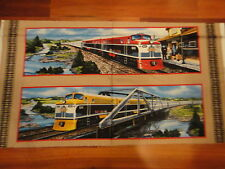 Trains & Train Station Rail King Quilt Panel Cotton Fabric .64 Yd L