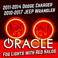 2011-14 Dodge Charger 2010-2017 Jeep Wrangler Fog Lights with RED ORACLE LED Kit