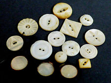 Vintage Antique lot of 16 carved Mother of Pearl white multi color buttons