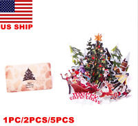 US! Merry Christmas Santa Claus 3D Tree Greeting Cards Table Decor with Card