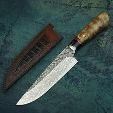 Handmade Chef Knife VG10 Damascus Steel Core Wood Handle Hand Leather Sleeve HRC