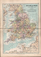 1895 VICTORIAN MAP ENGLAND & WALES RIVERS CANALS RAILWAYS MIDLAND GREAT WESTERN