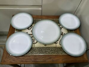 "Denby Regency Side Plates ,4 X 7"" , 1 X 8.5"" , White & Green Edge"