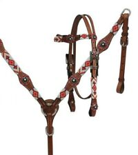 Showman Leather Bridle & Breast Collar Set w/ RED & WHITE Beaded Design NEW TACK