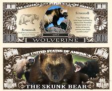 Wolverine ~ The Skunk Bear ~ Million Dollar Bill Fake Funny Money Novelty Note