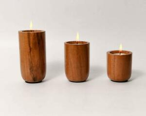 Wooden Tealight Round Candle Holder Stand 3 Tea-Lights