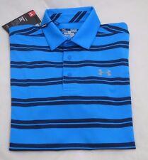 UNDER ARMOUR Medium Blue Groove Stripe POLO Golf Shirt Short Sleeve 1287383