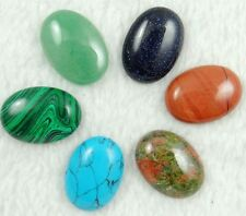 20pcs 25*18mm Mixing Hand Carved Oval CABOCHON GEMSTONE Beads No Hole