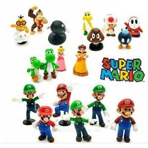 18pcs Super Mario Bros Action Figures Figurines Set Cake Topper Decor Kid Toy