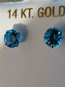 Blue Topaz Round Cut Stud Earrings 14kt Solid White Gold