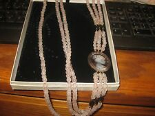 "Rose Quartz 6mm beads, with hemitite beads, 14K beads with 1 5/8"" Mother of Pear"