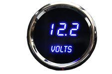 3 DIGITAL GAUGE SET Blue LEDs Volt Temp Celsius Oil P  Chrome bezels USA Made!