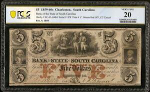 1859 $5 DOLLAR BILL SOUTH CAROLINA BANK NOTE LARGE CURRENCY PAPER MONEY PCGS 20