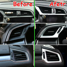 FIT FOR 16 HONDA CIVIC CHROME DASHBOARD CONSOLE AC AIR VENT COVER TRIM BEZEL x3
