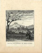 Stampa antica CERNUSCO e MONTEVECCHIA in Brianza Lecco 1875 Old antique print