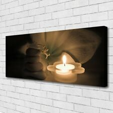 Leinwand-Bilder Wandbild Canvas Kunstdruck 125x50 Kerze Steine Blume Kunst