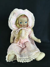 """19"""" Vintage mask face Cloth Doll in Pink w yarn hair and soiling- Much Loved"""