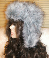 d69263ade10f89 LADIES GIRLS GREY WHITE FAUX FUR TRAPPER ESKIMO WINTER HAT WITH POM POMS  BNWT
