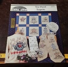 TEA DYED TEAPOTS HICKORY HOLLOW CROSS STITCH PATTERN FREE SHIPPING