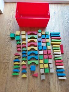 Job lot wooden building blocks 80+ in storage box. See photos.