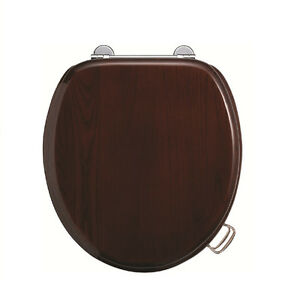 Burlington Wooden Mahogany Traditional Toilet Seat S12, With or Without Handles