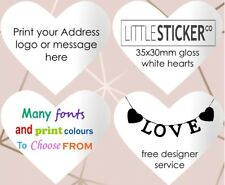 Personalised white heart  labels for Invitations and greeting cards x 50