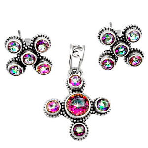 925 Silver 7.78cts Multi Color Rainbow Topaz Round Pendant Earrings Set D44451