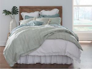 Southern Living Austen King Duvet Cover & Shams Linen/Cotton Multicolor NEW