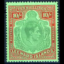 LEEWARD Is 1938-51 10s Ordinary. SG 113c* Lightly Hinged Mint. (BH510)