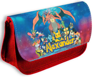 Personalised Any Name Pokemon  Red Pencil Case Make Up Bag School Kids 167