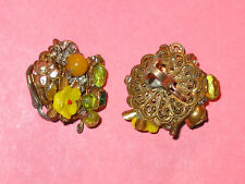 MIRIAM HASKELL Vintage Pearl ~ Rhnestone ~ Yellow Glass  Flower Clip Earrings