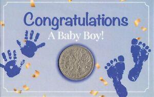 Congratulations A Baby Boy New Born Lucky Sixpence Coin Keepsake Christening