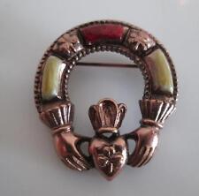 Vintage Soloor Gemstone Irish Claddagh Brooch Pin Friendship Love & Loyalty