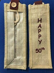 "Hessian / Jute Wine Bottle Bag ""Happy 50th"". Free P+P. Takes standard 1L bottles"
