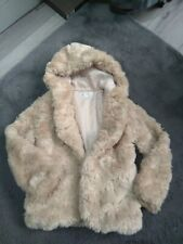 Girls Marks And Spencers Dusty Pink Fur Coat Age 7-8 Years Old