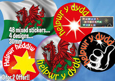 48 WELSH Teacher Reward Stickers 30mm non- personalised helper of the day