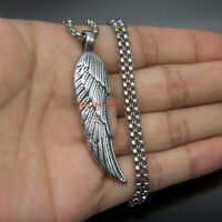 Men's Women's Vintage Stainless Steel Angel Feather Wing Pendant Necklace Unisex