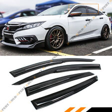 FOR 2016-18 10TH GEN HONDA CIVIC 4DR SEDAN 3D WAVY STYLE SMOKE WINDOW VISOR