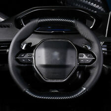Custom PU Leather Carbon Fiber Steering Wheel Stitch on Cover For Peugeot 5008