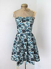 H&M bubble strapless bustier cocktail dress blue black roses tulle lining 8