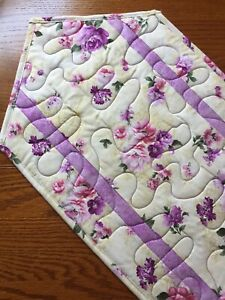 Handcrafted-Quilted Table Runner- Summertime - Flowers in Purple, Pink, Silver