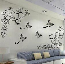 Black Butterfly Flower Blossom Vinyl Wall Stickers Mural Art Bedroom Decor Good