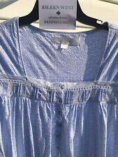 NEW Eileen West Blue Patterned Jersey Cotton Cap Sleeve Gown 1X