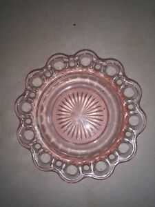 "6 1/2"" Decorative Pink Glass Candy Dish"