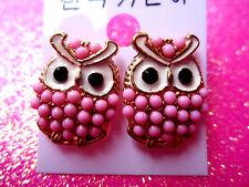 Pink Owl Stud Earrings